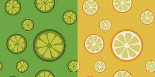 Sömlösa modeller för citrusfrukt vektor illustrationer