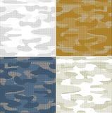 Sömlösa modeller för Digital kamouflage - vektoruppsättning stock illustrationer