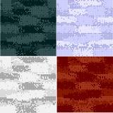 Sömlösa modeller för Digital kamouflage - vektoruppsättning royaltyfri illustrationer