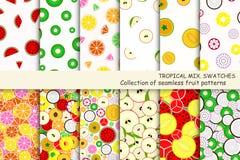 Sömlösa modeller för frukt - provkartor vektor illustrationer