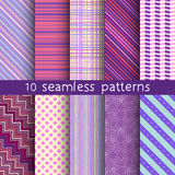 10 sömlösa modeller för randig vektor Texturer för tapet, påfyllningar, webbsidabakgrund Royaltyfri Bild