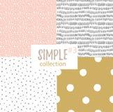 Sömlösa modeller för vektor med universella enkla texturer royaltyfri illustrationer