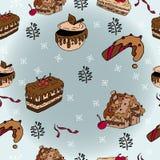 Sömlösa modeller för vinter med pepparkakakakor stock illustrationer