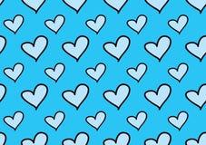 Sömlösa modeller med blåa hjärtor, förälskelsebakgrund, hjärtaformvektor, valentindag, textur, torkduk, brölloptapet stock illustrationer