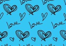 Sömlösa modeller med blåa hjärtor, förälskelsebakgrund, hjärtaformvektor, valentindag, textur, torkduk, brölloptapet royaltyfri illustrationer