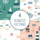 4 sömlösa modeller med nautiska designbeståndsdelar stock illustrationer
