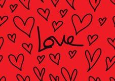 Sömlösa modeller med röda hjärtor, förälskelsebakgrund, hjärtaformvektor, valentindag, textur, torkduk, brölloptapet royaltyfri illustrationer
