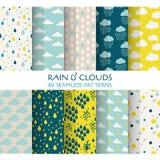 10 sömlösa modeller - regn och moln royaltyfri illustrationer