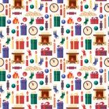 Sömlösa modelljulbeståndsdelar - gåvor, klocka, stearinljus, spis, sockor, trä, godis Färgrika festliga objekt för Royaltyfri Fotografi