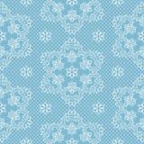 Sömlösa modellsnöflingor och prickar på blå bakgrundsvektor Jul snör åt tyg eller illustrationen för design för inpackningspapper vektor illustrationer