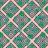 Sömlösa moderna geometriska texturfyrkanter med den exotiska tropiska djungeln gör grön palmblad på den rosa bakgrunden Svart på  vektor illustrationer