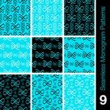 9 sömlösa monogrammodeller Fotografering för Bildbyråer