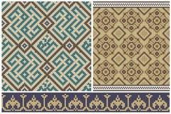 Sömlösa mosaikfriars och dekorer. Royaltyfri Bild
