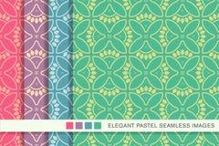 Sömlösa pastellfärgade kronblad F för blomma för kors för kurva för bakgrundsuppsättningrunda royaltyfri illustrationer