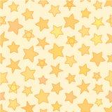 Sömlösa plana stjärnor med översiktsträskon, vektorbakgrund för gul guld Stock Illustrationer