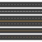 Sömlösa raka vägar Ändlös asfaltgata, körbana för bästa sikt Tom horisontalhuvudvägvektor stock illustrationer