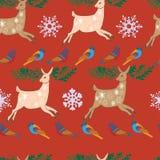 Sömlösa renar för glad jul Royaltyfria Bilder