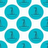 Sömlösa segla skepp på blå illustration för cirkelmodellvektor vektor illustrationer