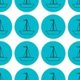 Sömlösa segla skepp på blå illustration för cirkelmodellvektor stock illustrationer