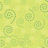 Sömlösa spiral Dots Green Background Abstract Pattern 1 Royaltyfri Bild