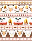 Sömlösa stam- indianindiergränser vektor illustrationer