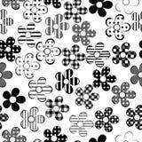 Sömlösa svartvita mönstrade blommor stock illustrationer