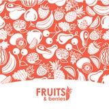 Sömlösa symboler för för modellvektorfrukter och bär royaltyfri illustrationer