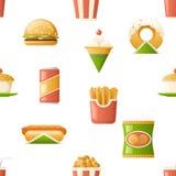 Sömlösa symboler för modellsnabbmatsymboler isolerade framlänges illustrationen för designmallvektorn Arkivfoto