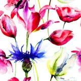 Sömlösa tapeter med den härliga blomman stock illustrationer