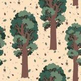 Sömlösa texturredwoodträd i skogen Royaltyfri Illustrationer
