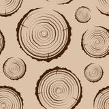 Sömlösa trädcirklar Sågen klippte bakgrunden för trädstammen Tvärsnitt av stammen med trädcirklar vektor illustrationer