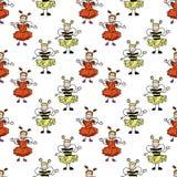 Sömlösa ungeklotter, bi och jordgubbe stock illustrationer