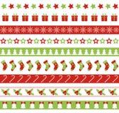 Sömlösa vektorgränser för jul Ändlös prydnad Arkivfoto