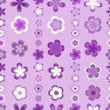 Sömlöst abstrakt begrepp gjord randig modell av gulliga rosa färger och bruna geometriska blommor vektor illustrationer