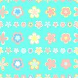 Sömlöst abstrakt begrepp gjord randig modell av gulliga rosa färger och bruna geometriska blommor stock illustrationer