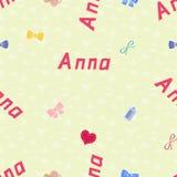 Sömlöst bakgrundsmodellnamn Anna av det nyfött vektor illustrationer