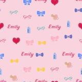 Sömlöst bakgrundsmodellnamn Emily av det nyfött Royaltyfri Fotografi