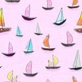 Sömlöst behandla som ett barn ungemodellhanden som drar den färgrika yachtvektorn Många litet kulört seglar fartyg på rosa bakgru Royaltyfria Bilder