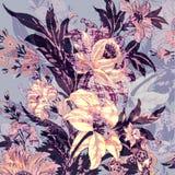 Sömlöst blom- tryck stock illustrationer