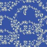 Sömlöst blomma- och fjärilskort Royaltyfri Fotografi