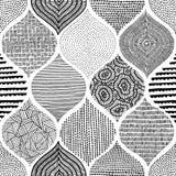 Sömlöst bohemiskt tryck Prydnad i patchworkstil handgjort stock illustrationer