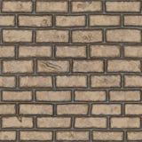 Sömlöst gammalt ljus - brun (handpainted) tegelstenvägg, Arkivfoton