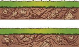 Sömlöst gräs och smuts vektor illustrationer