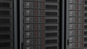 Sömlöst kretsa av serveror i datorhall animering 3D arkivfilmer