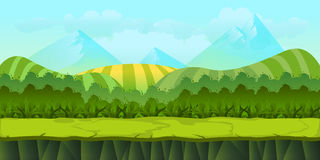 Sömlöst landskap för gullig tecknad film med avskilda lager stock illustrationer