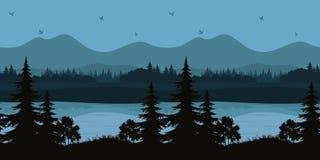 Sömlöst landskap, träd och berg sjö vektor illustrationer
