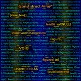 Sömlöst mörker - blå modell med programkod Vektorillustration för EPS 10 Arkivbilder