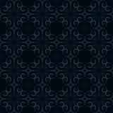 Sömlöst mörker - damast modell för blå tappning vektor illustrationer
