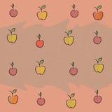 Sömlöst med bilden av frukt: äpplen körsbär, plommoner Arkivfoton