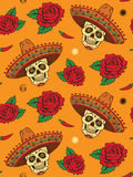 Sömlöst med den mexikanska skallen Royaltyfria Foton